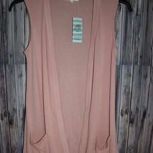 Tickled Teal Open Front Sleeveless Cardigan Vest S
